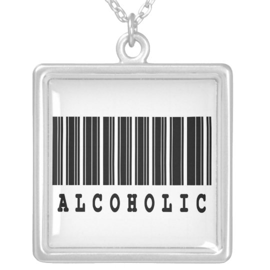 alcoholic funny barcode design silver plated necklace