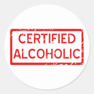 ALCOHÓLICO CERTIFICADO PEGATINA REDONDA