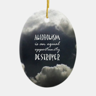 Alcoholism Double-Sided Oval Ceramic Christmas Ornament