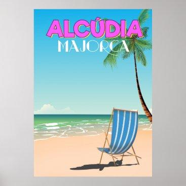 Beach Themed Alcúdia Majorca beach travel poster