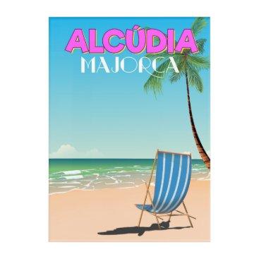 Beach Themed Alcúdia Majorca beach travel poster Acrylic Wall Art
