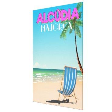 Alcúdia Majorca beach travel poster Canvas Print