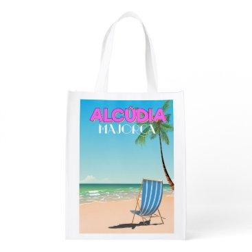 Beach Themed Alcúdia Majorca beach travel poster Grocery Bag
