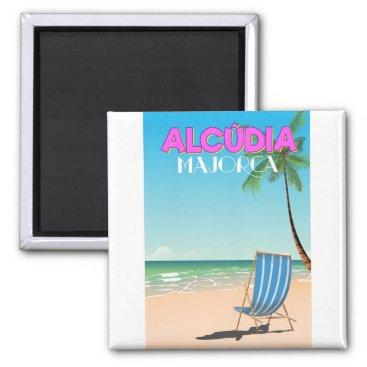 Beach Themed Alcúdia Majorca beach travel poster Magnet