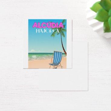 Beach Themed Alcúdia Majorca beach travel poster Square Business Card