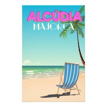 Beach Themed Alcúdia Majorca beach travel poster Stationery