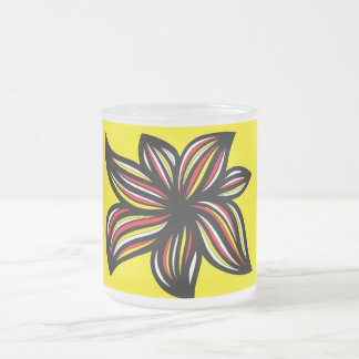 Aldava Abstract Expression Yellow Red Black 10 Oz Frosted Glass Coffee Mug