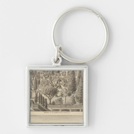 Alden residence, Harmon Tract Silver-Colored Square Keychain