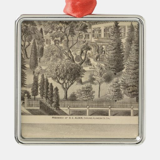 Alden residence, Harmon Tract Square Metal Christmas Ornament