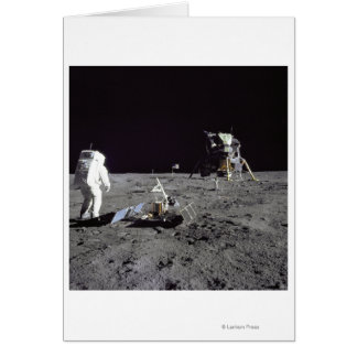 Aldrin Looks Back at Tranquility Base Card