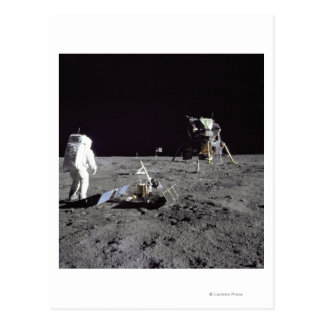Aldrin Looks Back at Tranquility Base Postcard