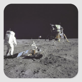 Aldrin Looks Back at Tranquility Base Square Sticker