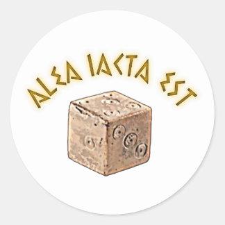 alea iacta est pegatina redonda