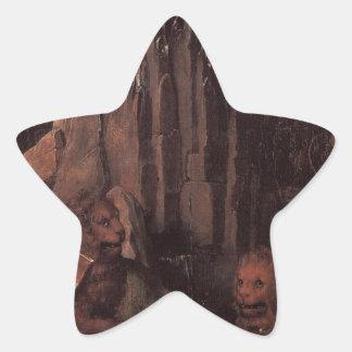 Alegoría con una Virgen de Hans Memling Pegatina En Forma De Estrella
