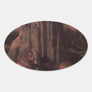 Alegoría con una Virgen de Hans Memling Pegatina Ovalada