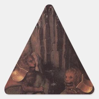 Alegoría con una Virgen de Hans Memling Pegatina Triangular