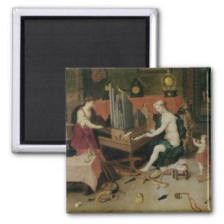 Alegoría de la audiencia, detalle de un organista imán cuadrado