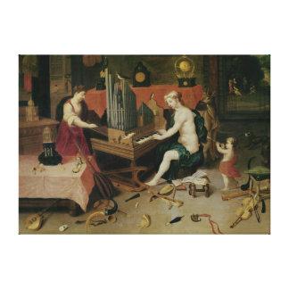 Alegoría de la audiencia, detalle de un organista impresion en lona