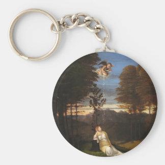 Alegoría de la castidad de Lorenzo Lotto Llavero Redondo Tipo Pin