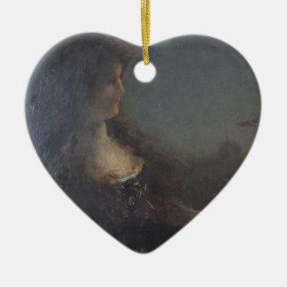 Alegoría de la noche de Alfred Stevens Adorno De Cerámica En Forma De Corazón