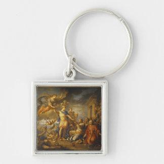 Alegoría de la paz del AIX-la-Chapelle, 1761 Llavero Cuadrado Plateado