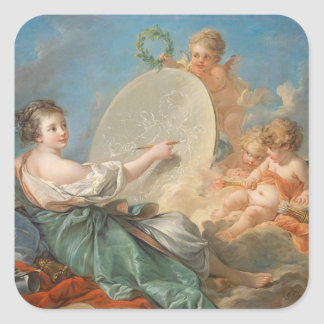 Alegoría de la pintura, 1765 (aceite en lona) calcomania cuadrada personalizada