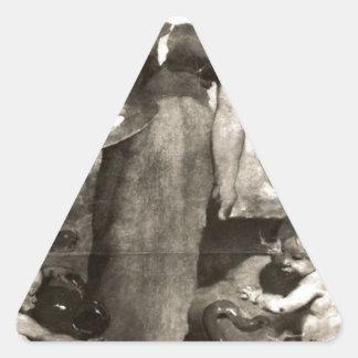 Alegoría de la pintura de cerámica de Columbano Pegatina Triangular
