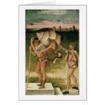 Alegoría de la sabiduría (aceite en el panel) tarjeta de felicitación