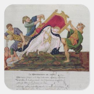 Alegoría del vuelco del trono pegatina cuadrada