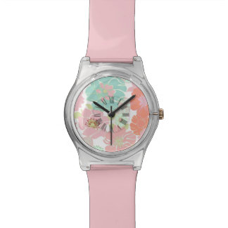 Alegre de PixDezines, floral retro/pastel Relojes