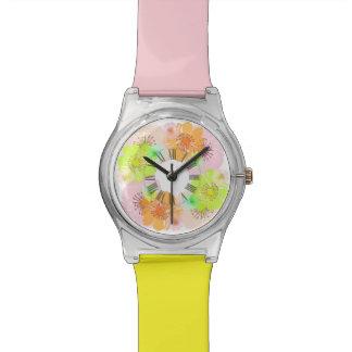Alegre de PixDezines, floral retro Relojes
