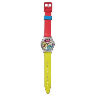 Alegre de PixDezines, floral retro Relojes De Pulsera