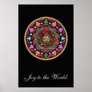 Alegría a la mandala de OM del mundo Póster