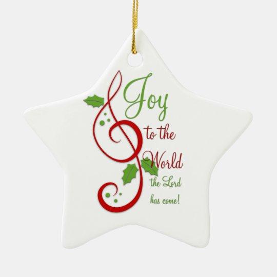 Alegría a la música cristiana del villancico del adorno navideño de cerámica en forma de estrella