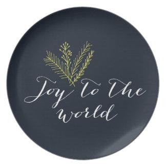 Alegría a la placa del día de fiesta del mundo plato de cena