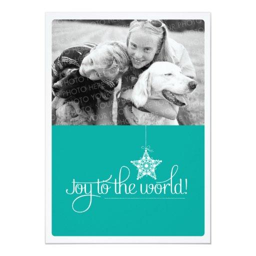 """Alegría a la tarjeta plana de la foto del navidad invitación 5"""" x 7"""""""