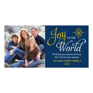 Alegría a los azules marinos religiosos del navida tarjetas con fotos personalizadas