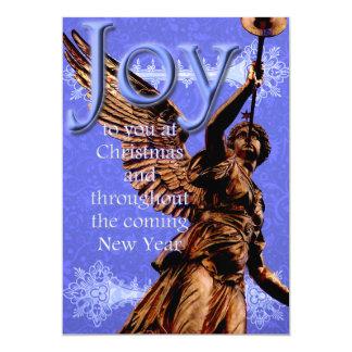 """Alegría a usted en el navidad - ángel con la invitación 5"""" x 7"""""""