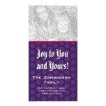 Alegría a usted y el suyo copo de nieve púrpura 2  tarjetas fotograficas
