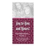 Alegría a usted y el suyo copos de nieve del marró tarjeta fotografica personalizada