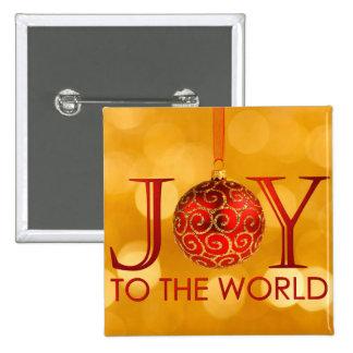 Alegría al botón del mundo pin cuadrado