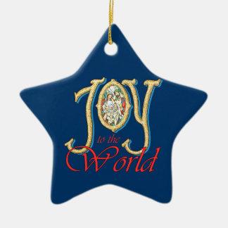 Alegría al mundo con natividad del vitral adorno navideño de cerámica en forma de estrella