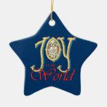 Alegría al mundo con natividad del vitral adorno de navidad