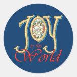 Alegría al mundo con natividad del vitral etiquetas redondas
