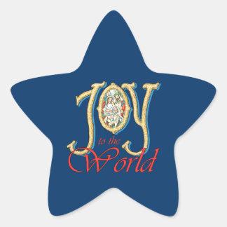 Alegría al mundo con natividad del vitral pegatina en forma de estrella