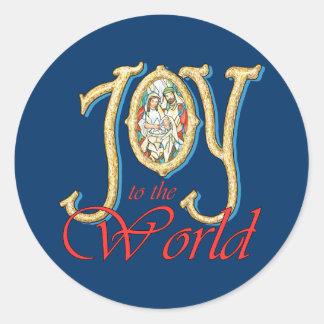 Alegría al mundo con natividad del vitral pegatina redonda