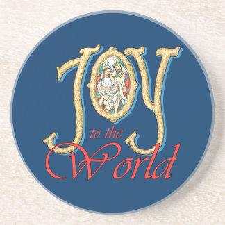 Alegría al mundo con natividad del vitral posavasos manualidades