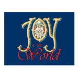 Alegría al mundo con natividad del vitral postal