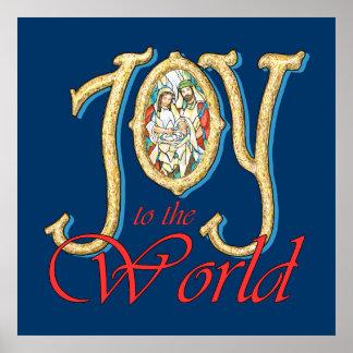 Alegría al mundo con natividad del vitral póster