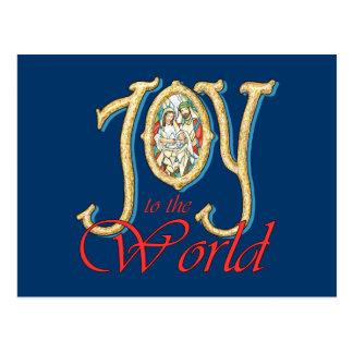 Alegría al mundo con natividad del vitral postales